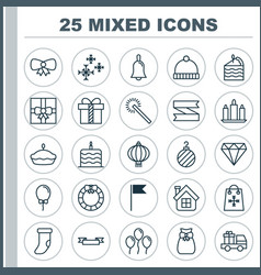Holiday icons set collection of gift traditional vector