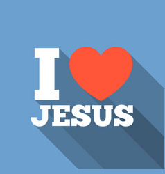 i love jesus icon with long shadow vector image