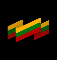 Lithuania flag ribbon isolated lithuanian ribbon vector