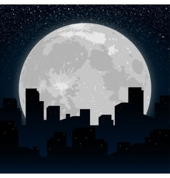 Moon Background silhouette of the city at night vector image vector image
