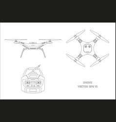 outline drawing of drone on a white background vector image vector image