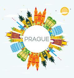 Prague skyline with color buildings blue sky and vector