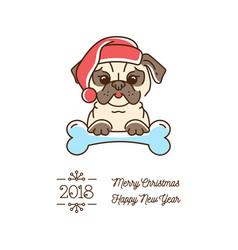Pug christmas year of the dog 2018 cute cartoon vector