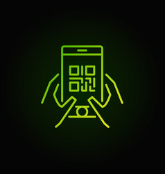Qr code in smartphone green icon or symbol vector