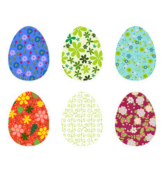 Set of bright colorful eggs decorated with floral vector