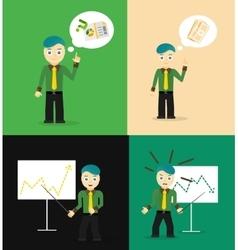 Set of cute cartoon young businessmen Idea vector image