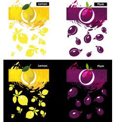 Set template lemon and plum fruit vector