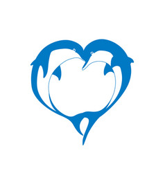 silhouette of two dolphin couple in heart shape vector image vector image