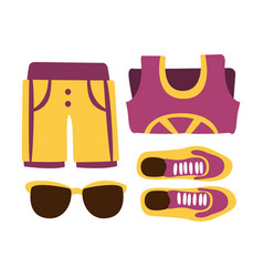 Sneakers shorts and sun glasses in purple colors vector
