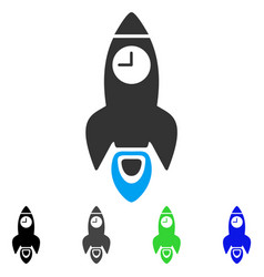 Space rocket time flat icon vector