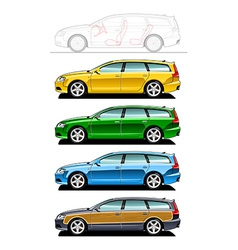 Station wagon woodie vector image vector image