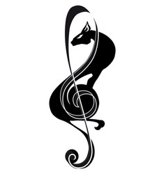 Treble clef panther music tattoo stylized vector