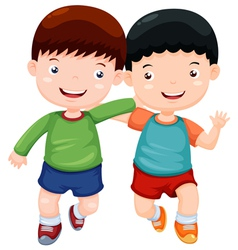 Two boys have fun vector