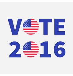 Vote 2016 text blue badge button icon with vector