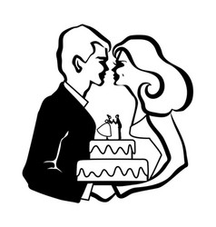 Wedding love cake vector