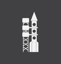 White icon on black background rocket station vector