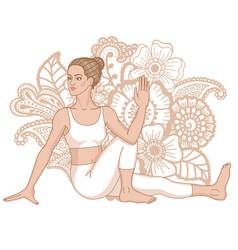 Women silhouette marichis yoga pose marichyasana vector