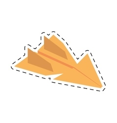 Yellow paper plane flying model cut line vector