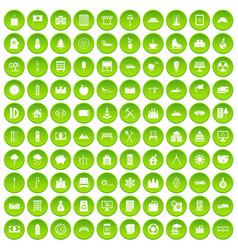 100 video icons set green circle vector