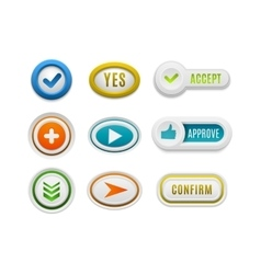 Ok button set vector