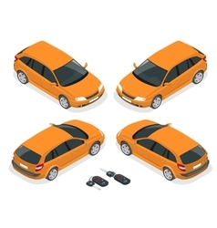Isometric hatchback and car keys 3d flat vector
