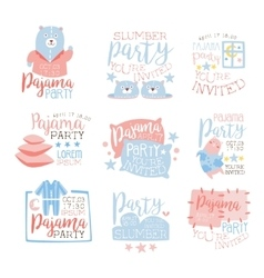 Pink And Blue Girly Pajama Party Invitation vector image