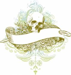 skull banner grunge illustration vector image