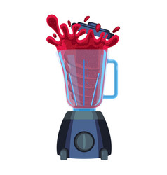 Blender with red splashes of cherry or strawberry vector