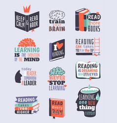 Reading motivation quote phrases badge logo bubble vector