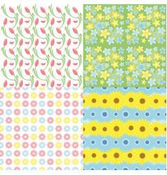 botanical spring floral seamless patterns set vector image