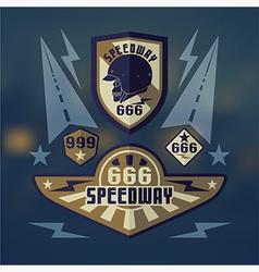 Speedwey 666 retro emblems vector image