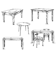 Set of hand drawn tables vector