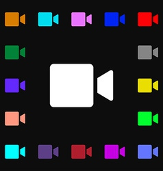 Video camera icon sign lots of colorful symbols vector
