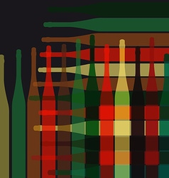 Background wine bottles vector