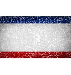 Flags crimea with broken glass texture vector