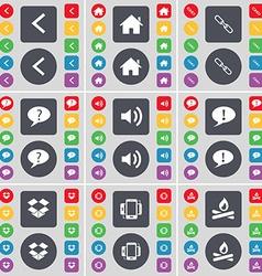 Arrow left House Link Chat bubble Sound Dropbox vector image