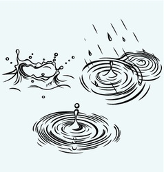 Rain drops in the water vector image