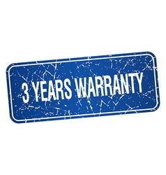 3 years warranty blue square grunge textured vector
