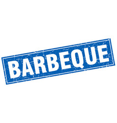 barbeque blue square grunge stamp on white vector image vector image