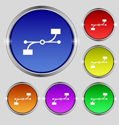 Bezier curve icon sign round symbol on bright vector