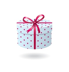 Blue with pink spots gift box vector