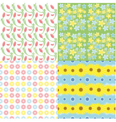 Botanical spring floral seamless patterns set vector