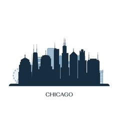 chicago skyline monochrome silhouette vector image vector image
