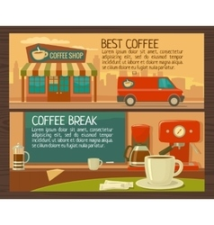 Coffee service in shop and cafe Flat vector image vector image