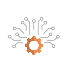cogwheel icon media social communication vector image