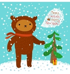 Cute bear greeting card vector