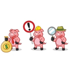 Deep Pink Pig Mascot with sign vector image
