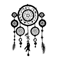 Dream catcher silhouette with feathers and beads vector
