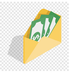 envelope with money isometric icon vector image vector image
