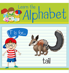 Flashcard letter T is for tail vector image vector image